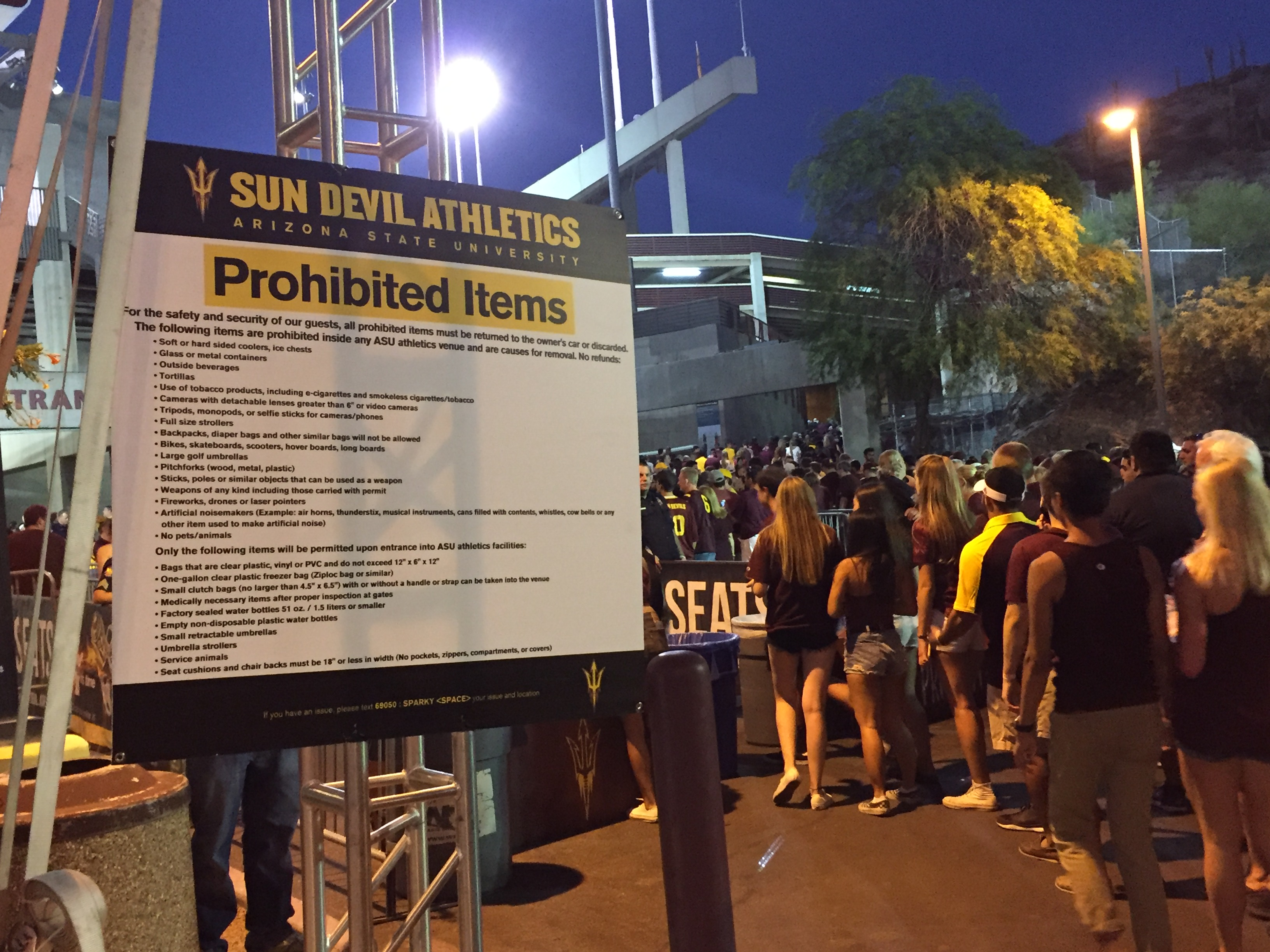 ASU's new clear bag policy is plastered on signs around Sun Devil Stadium to remind fans of the new rule. (Ryan Decker / Cronkite News)