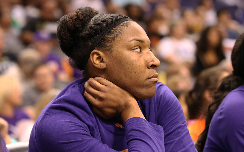 Phoenix Mercury center Kelsey Bone kneeled during the national anthem Thursday night, her third straight game doing so. (Photo by Lindsey Wisniewski/Cronkite News)