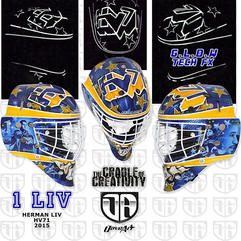 Mask artist David Gunnarsson designed a mask that pays tribute to Stefan Liv for Liv's son, Herman. (Photo courtesy of David Gunnarsson/DaveArt).