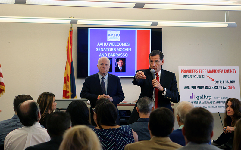 Sen. John McCain (R-AZ) and Sen. John Barrasso (R-WY) spoke to a town hall meeting at the Phoenix Better Business Bureau on Friday, Sept. 16. The senators discussed their dismay with Obamacare and called for its repeal and replacement. (Joshua Bowling/Cronkite News)
