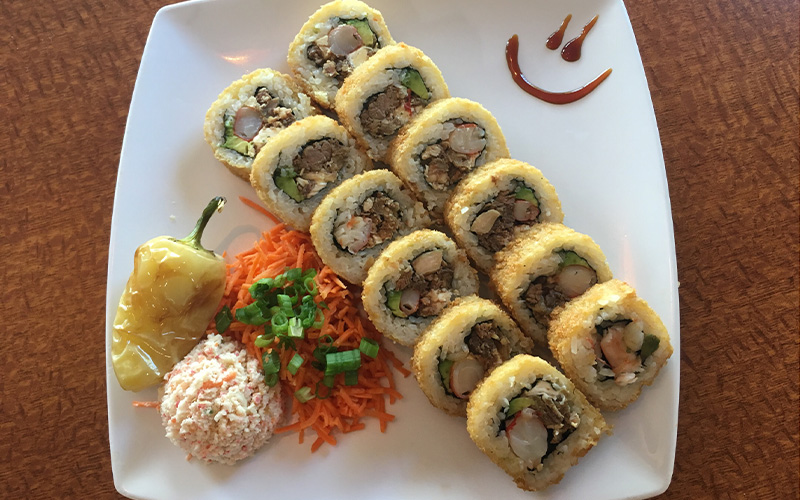 Mexican sushi roll, Cielo Mar y Tierra, is one of the most popular fully cooked dishes served at Sushi Sonora. It's one of a growing number of restaurants catering to hispanic customers in Phoenix.  (Yeimi Flores/ Cronkite News)