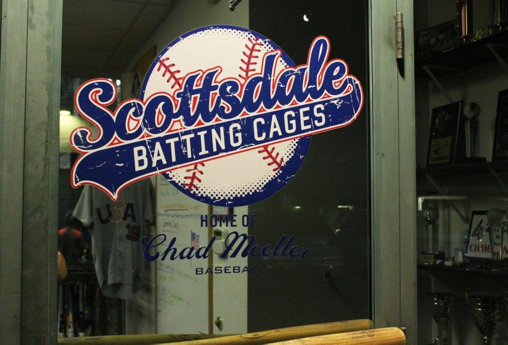 Chad Moeller Baseball is located inside the Scottsdale Batting Cages. (Photo by Trisha Garcia/Cronkite News)