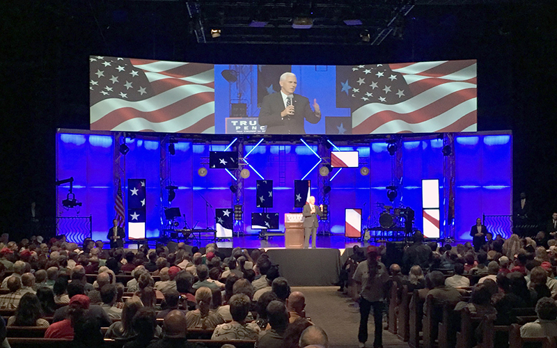 Mike Pence, Indiana governor and GOP vice presidential nominee, addressed a crowd in Mesa on Thursday, Sept. 22. Pence promised conservative change to supporters. (Photo by Joshua Bowling/Cronkite News)