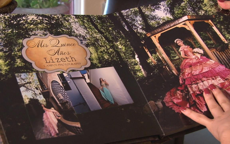 Lizeth Rabago's signature album for her quinceañera. (Photo by Lillian Griego/Cronkite News)