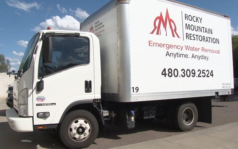 Rocky Mountain Restoration truck. (Photo by Dana Lewandowski/ Cronkite News)