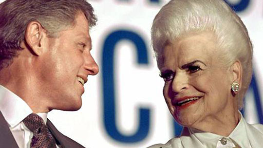 President Clinton talks with former Arizona Gov. Rose Mofford during a campaign event in Sun City, Ariz., on Wednesday Sept. 11, 1996. (AP Photo/Doug Mills)