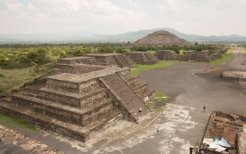 Teotihuacan, Mexico - June 8, 2016  - View of the Avenue of the Dead and the Sun pyramid from the Moon pyramid - Photo by Ken Fagan/ASU Now