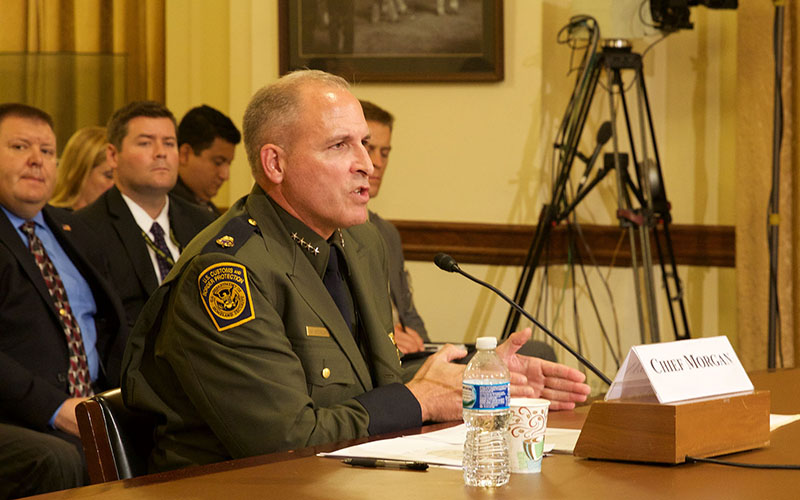 """New Border Patrol Chief Mark Morgan defended the agency's """"Defense in Depth"""" policy, saying it allowsan effective use of scarce resources along the border. (Photo by Jessica Suerth/Cronkite News)"""
