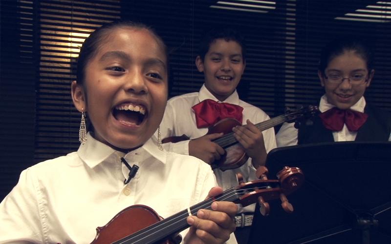 Student Aixa Alvarez is part of the Mariachi program at Desert Sounds.(Photo by Lillian Griego/Cronkite News)