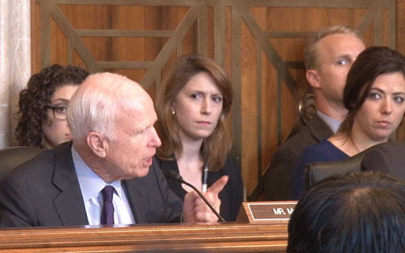 "Sen. John McCain, R-Arizona, chided Sen. Jon Tester, D-Montana, for his opposition to school choice for tribal youth, calling ""shame on you"" for the position. (Photo by Claire Caulfield/Cronkite News)"