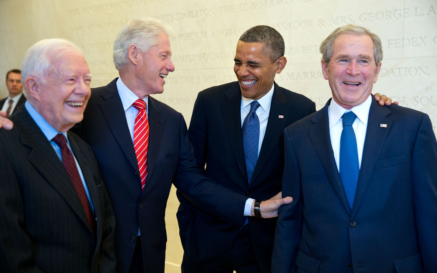 (From left) Former President Jimmy Carter, Former President Bill Clinton, Current President Barack Obama and Former President George W. Bush