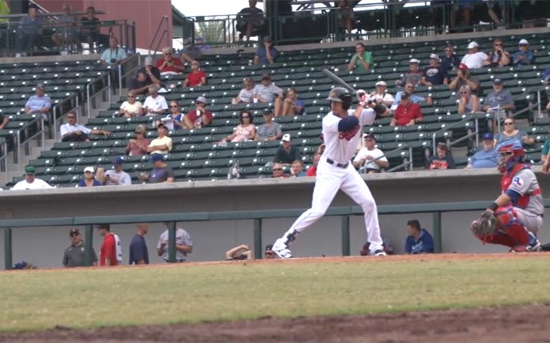 Indians' No. 1 prospect Bradley Zimmer prepares to swing. (Photo by Trisha Garcia/Cronkite News)