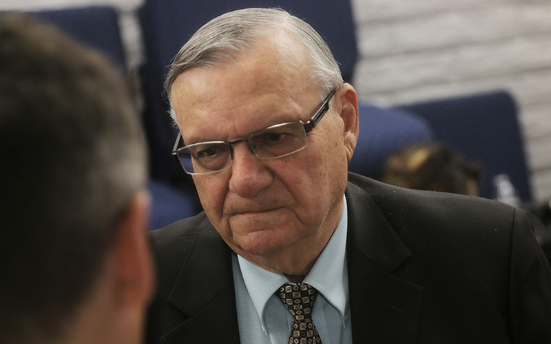 Maricopa County Sheriff Joe Arpaio learned of his Republican primary victory shortly after arriving at the Arizona Republican Party headquarters on Aug. 30, 2016. (Photo by Bri Cossavella/Cronkite News)
