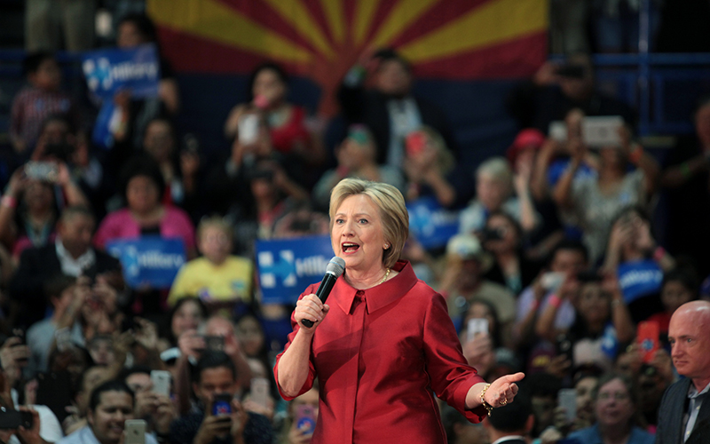 Hillary Clinton speaks with supporters at a campaign rally at Carl Hayden High School in Phoenix on March 21, 2016. (Photo by Gage Skidmore via Creative Commons)