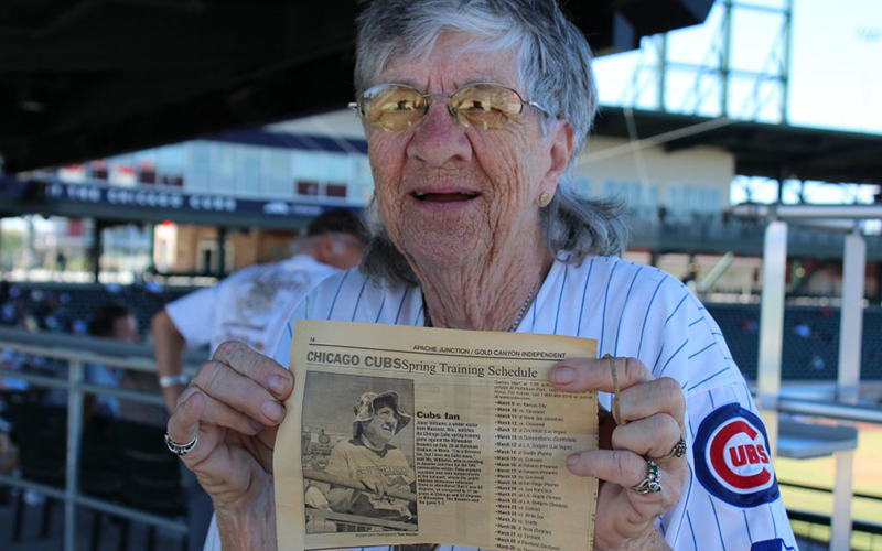 Joyce Williams, 80, has been recognized by the media before for being a dedicated Cubs fan and this year is no different. (Photo by Trisha Garcia/Cronkite News)