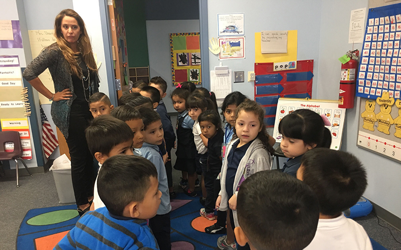 Teacher Marissa Chavez said students in full-day kindergarten learn socialization as well as academic skills. (Photo by Keerthi Vedantam/Cronkite News).
