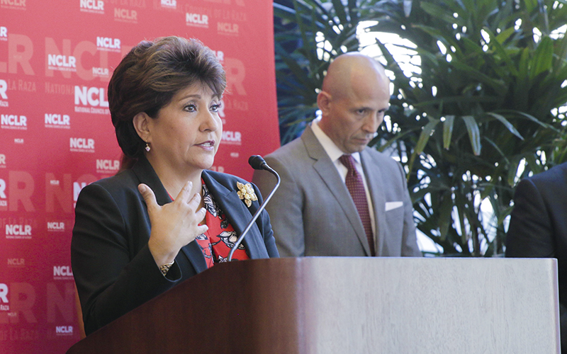Janet Murguía, president and CEO of the National Council of La Raza talks about the impact and history of the Latino community in Arizona during a news conference in downtown Phoenix on Friday Oct. 7, 2016. (Photo by Alejandro Barahona/Cronkite News)