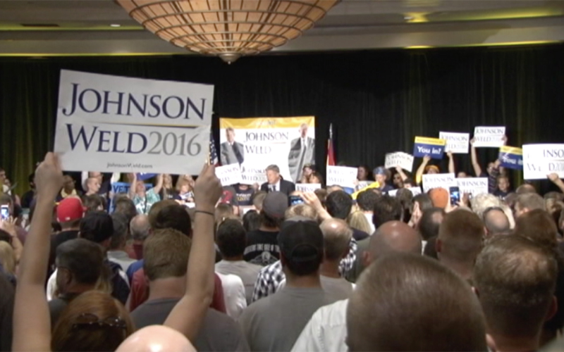 Supporters of Gary Johnson gathered in a hotel in Deer Valley. (Photo by Jesse Canales/Cronkite News