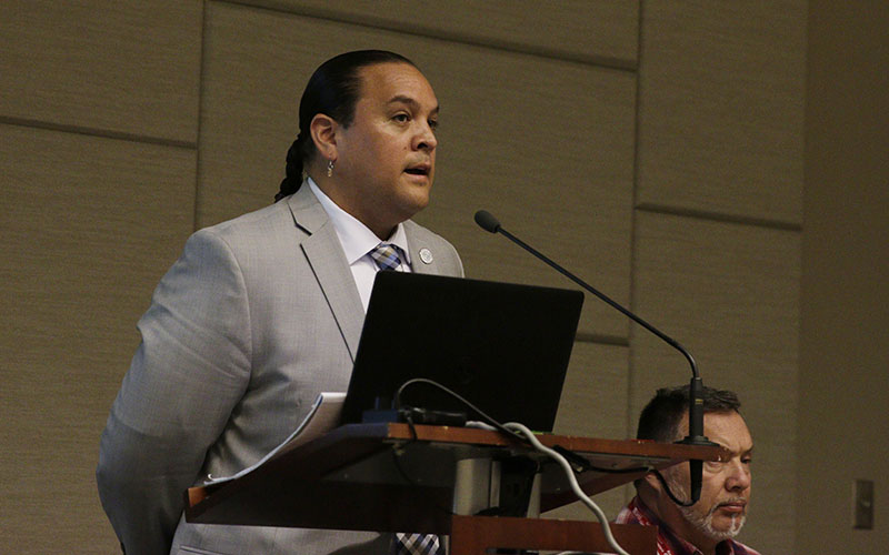 Kitcki Carroll moderated the panelists who presented at NCAI's 73rd Annual Convention and Marketplace in Phoenix. (Photo by Courtney Columbus/Cronkite News)