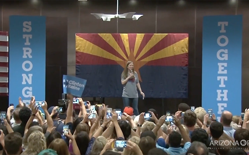 Chelsea Clinton urges a crowd at a rally on Arizona State University's Tempe campus to vote for her mother, Hillary Clinton, for president. (Photo by Katie Bieri/Cronkite News)