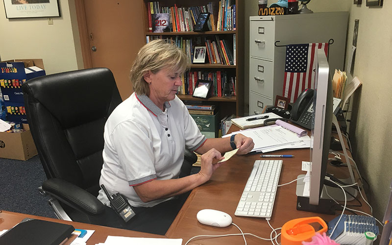 Kristan Kurtz, Academy for Success director,  has been working in education for 32 years. She was a principal at Starlight Park Elementary for six years before transfering to Academy for Success. (Photo by Keerthi Vedantam/Cronkite News)