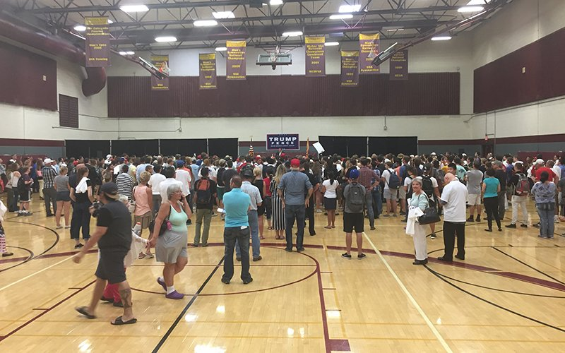 Donald Trump Jr. spoke to Arizonans at a rally at Arizona State University's Tempe campus. (Photo by Bri Cossavella/Cronkite News)
