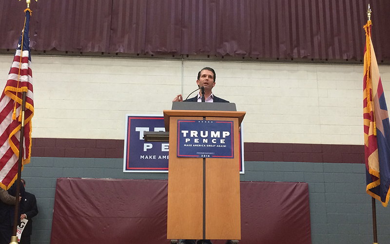 Donald Trump Jr. said Republican candidate Donald Trump will help reverse course for millennials in America. (Photo by Bri Cossavella/Cronkite News)