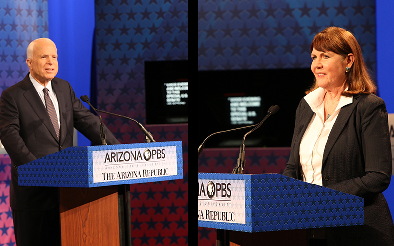 Sen. John McCain and Rep. Ann Kirkpatrick waiting to begin the 2016 Senate debate. (Photo by Charity Bidegain/Cronkite News)