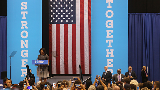 Michelle Obama speaks to a crowd in Phoenix, AZ, on October 20, 2016. (Photo by Sean Pepper/ Cronkite News)