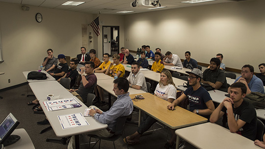 Arizona State University College Republicans at a strategy meeting to recruit millennial voters. The meeting took place at the W.P. Carey School of Business, which has no affiliation with the Republican group. (Photo by Danielle Quijada/Cronkite News)