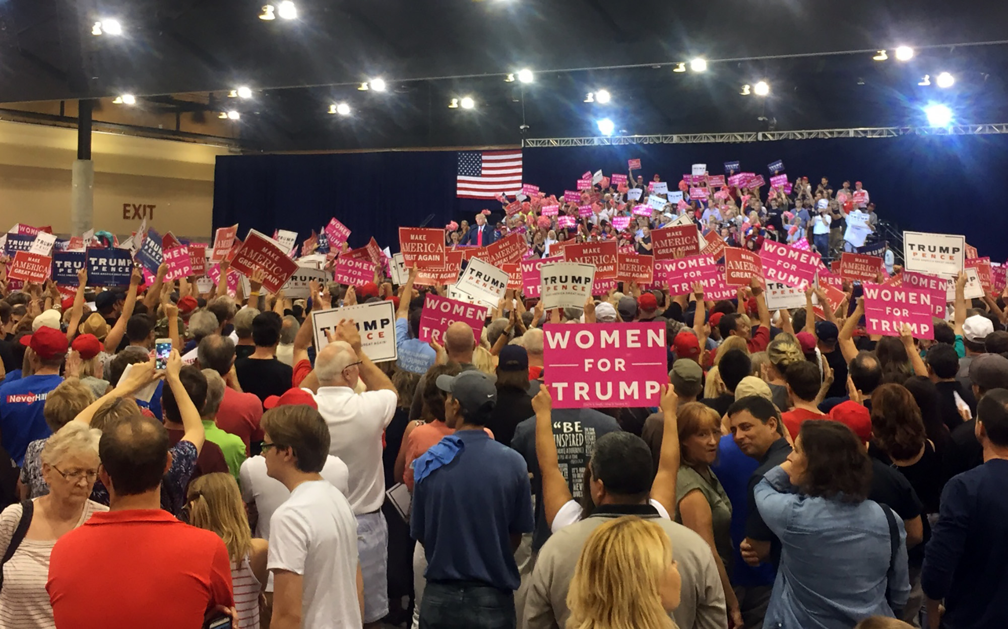 Several thousand people packed the Phoenix Convention Center to see Donald Trump on his seventh campaign visit to Arizona. (Photo by Karla Liriano/Cronkite News