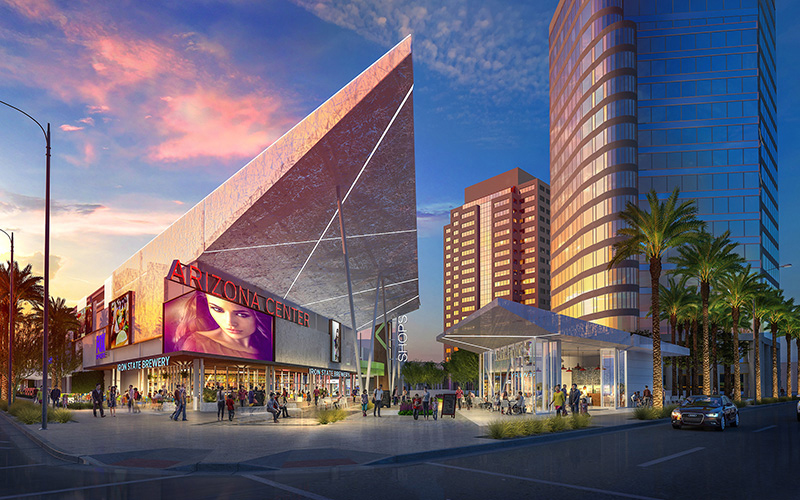 The new modern design for Arizona Center shows a rooftop jutting toward the sky like a rocketship near the entryway off 3rd and Van Buren streets. (Rendering courtesy of Parallel Capital Partners)
