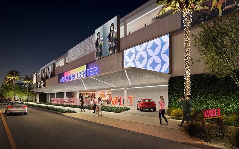 Valet parking service will be offered to Arizona Center shoppers. (Rendering courtesy of Parallel Capital Partners)