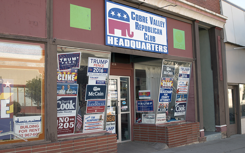 The Cobre Valley Republican Club Headquarters, pictured on Thursday, Nov. 17, 2016. Globe-Miami residents said they hope to see both political parties work together under Donald Trump's presidency. (Photo by Joshua Bowling/Cronkite News)
