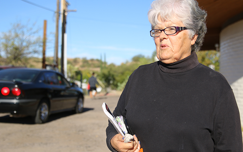 """Gretchen Graef who lives in Sonora, Mexico, and is a dual citizen of Mexico and the U.S. voted at the VFW in Nogales on election day and said """"We need to get back to civility."""" (Photo by Zach Quinn/Cronkite News)"""