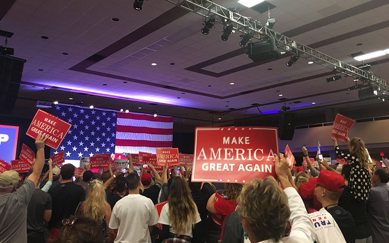 Republican Mike Pence, Donald Trump's choice for vice president if he is elected Nov. 8, made his fourth appearance in Arizona. (Photo by Keerthi Vedantam/Cronkite News).