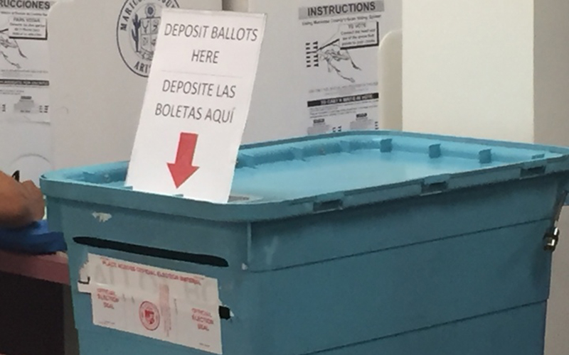 A ballot box at the Maricopa County Recorder's Office contains ballots from early voters in the 2016 general election. (Photo by Sean Pepper/Cronkite News)