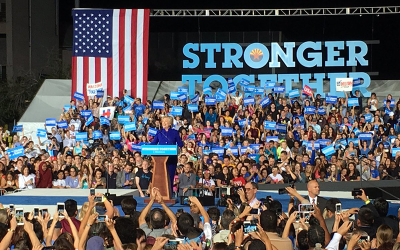 "Hillary Clinton addresses a crowd at a rally on Arizona State University's Tempe campus six days before Election Day. Clinton told the crowd, ""It is in your hands."" (Photo by Katie Bieri/Cronkite News)"