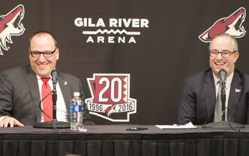 Coyotes President and CEO Anthony LeBlanc and majority owner Andrew Barroway say a move to Tempe would widen the team's fan base. (Photo by Kristina Vicario/Cronkite News)