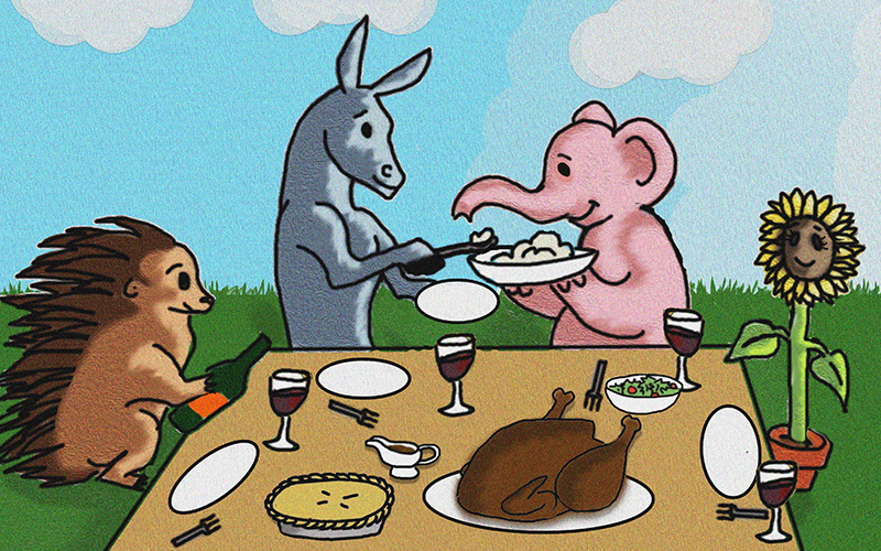 Political mascots engage in civil conversation during Thanksgiving dinner. (Illustration by Roman Russo/Cronkite News)