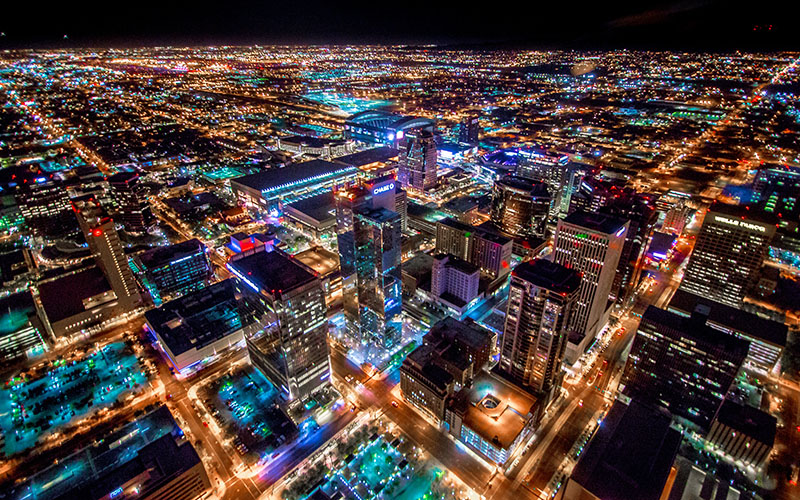 Phoenix lights at night (Photo by Hannah Dickens/Cronkite News)