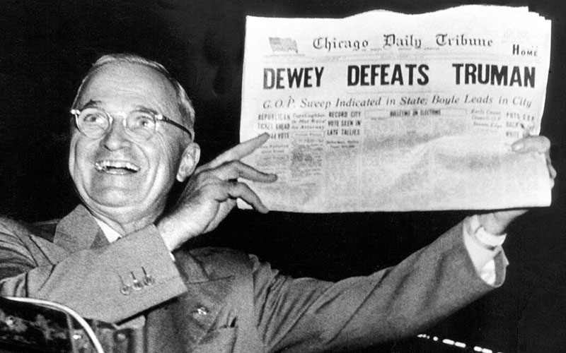 This was not the first election where polls got it wrong, as this 1948 photo of President Harry Truman's re-election shows. But large numbers of polls were off the mark this year. (Photo courtesy Internet Archives Blog)