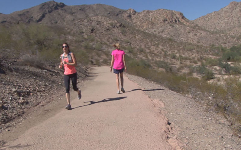 Lesly Bondy (right) has been hiking South Mountain for 12 years. She often takes the Desert Foothills trail. (Photo by Katelyn Greno/Cronkite News)