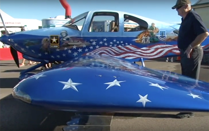Rodney Jarrell's plane is a flying a work of art, one that honors our nation's heroes. (Photo by Tyler Fingert/Cronkite News)