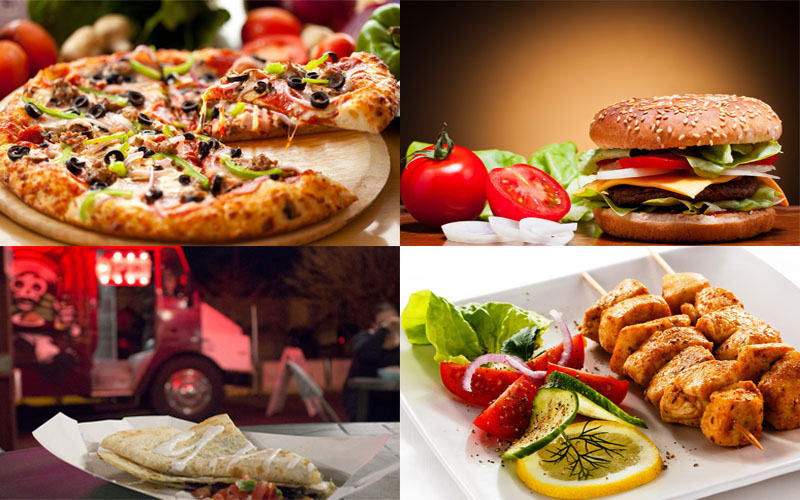 (Kabob, hamburger and pizza photos by Michael Stern via Creative Commons   Food truck photo by Molly Bilker/Cronkite News)