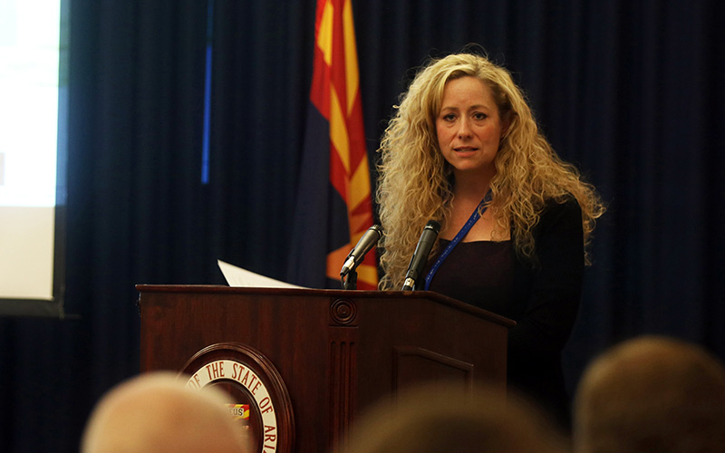 "Dr. Cara Christ, director of the Arizona Department of Health Services,  said the state's goal is to get ""85 percent of Arizona's population covered by first responders who are trained and carrying naloxone."" (Photo by Jessica Clark/ Cronkite News)."