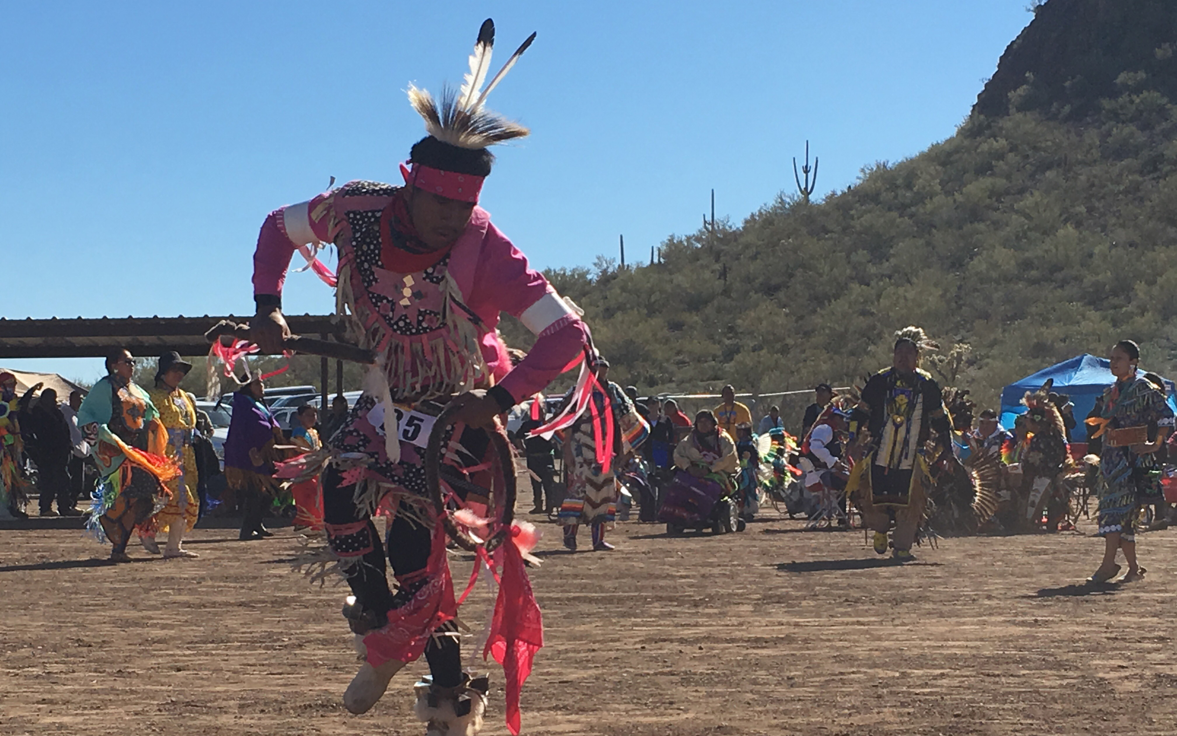 A dancer in the powwow contest at the annual Tohono O'odham Nation Rodeo & Fair, the largest event for the Tohono O'oham Nation. (Photo by Sarah Jarvis/Cronkite News)