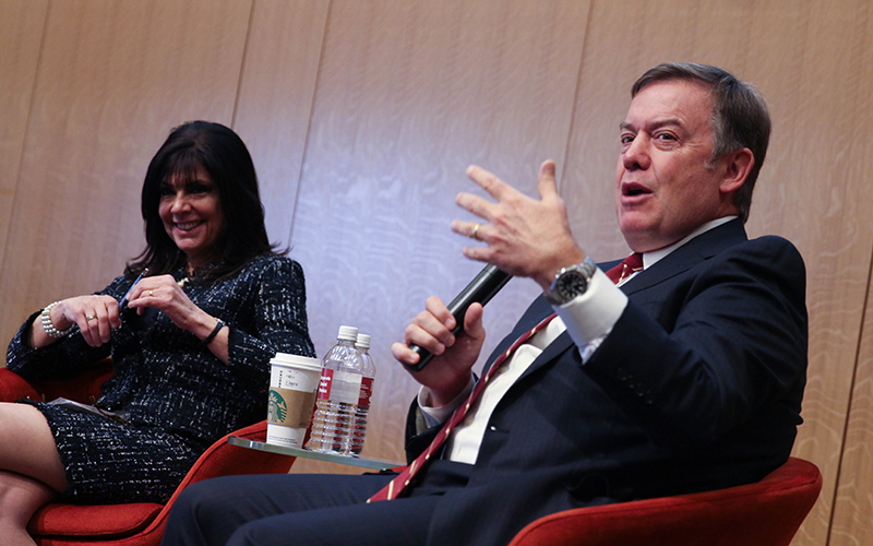Maria Harper-Marinick, chancellor of Maricopa Community Colleges, and Michael M. Crow, president of Arizona State University, spoke about the intersection of higher education and the economy in Arizona at Gateway Community College on Tuesday. (Photo by Erica Apodaca/ Cronkite News)