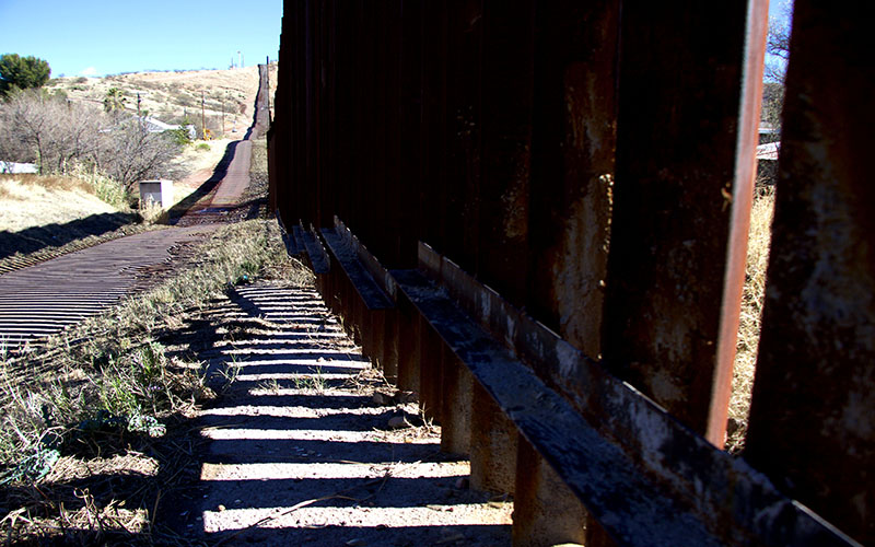 A detailed view of the U.S.-Mexico border wall in Nogales, AZ on Wednesday January 25, 2017. (Photo by Taylor Rearick/Cronkite News)