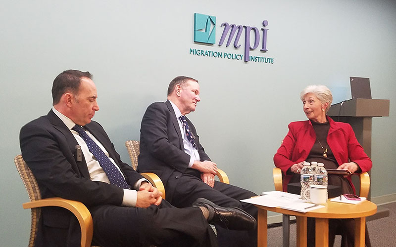 Former Arizona Gov. Janet Napolitano spoke by videoconference at the session on the future of DACA with, from left, Ike Brannon, Don Graham and the Migration Policy Institute's Doris Meissner. (Photo by Dustin Quiroz/Cronkite News)